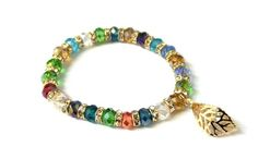 JTY458 8mm Multi Colored Crystal Glass Bead via Jewellery To You