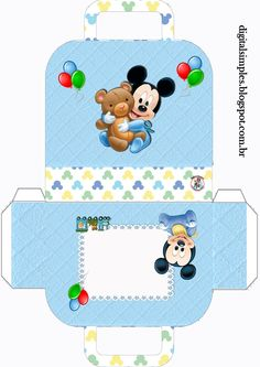 Discover recipes, home ideas, style inspiration and other ideas to try. Festa Mickey Baby, Mickey Mouse Baby Shower, Baby Mouse, Mickey Minnie Mouse, Baby Disney Characters, Paper Box Template, Box Templates, Baby Shower Crafts, Disney Printables