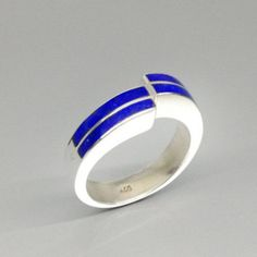 Lapis Lazuli ring with Sterling silver - geometrical design - gift idea