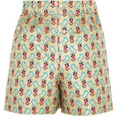 Miu Miu Floral-Jacquard Shorts as seen on Rosie Huntington-Whiteley