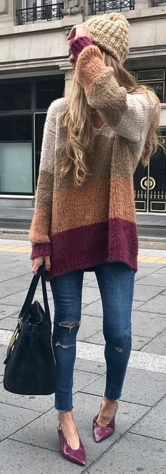 gray, beige, and maroon sweater with distress blue denim fitted jeans and pair of maroon leather pointed-toe pumps outfit Grey Fur Coat, Cozy Winter Outfits, Maroon Sweater, Stitch Kit, Pointed Toe Pumps, Jeans Fit, Blue Denim, Long Sleeve Tops, Pairs