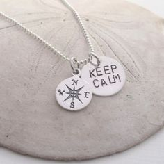 Silver Keep Calm and Compass Charm Necklace