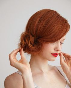 side, messy chignon. . .  love this red hair!