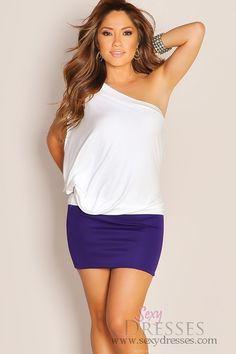 Flirty One Shoulder Mini Knit Block Color Purple White Club Dress