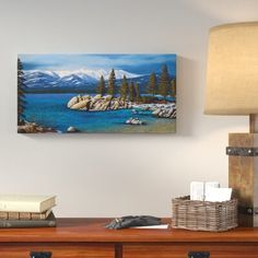 Loon Peak 'Winter at Sand Harbor Lake Tahoe' Painting Print on Wrapped Canvas Size: H x W x D Sand Harbor Lake Tahoe, Canvas Size, Painting Prints, Wrapped Canvas, Cookware, Winter, Size 12, Products, Cooking Ware