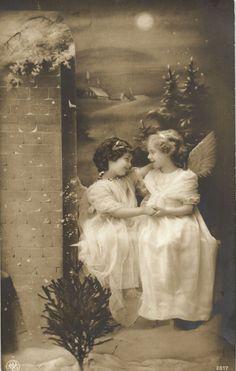 2 Edwardian Angel Girl by Christmas Tree Photo Postcard 1912 | eBay
