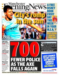 The front page of the Manchester Evening News on Monday, September 23, 2013.