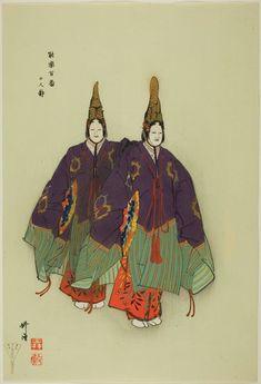 "Tsukioka Kogyo  Japanese, 1869-1927    Futari Shizuka, from the series ""One Hundred No Dramas (Nogaku hyakuban)"", 1898-1903    Color woodblock print.   The Art Institute of Chicago"