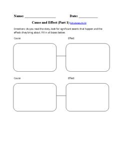 Cause and Effect Worksheet ELA-Literacy.RI.3.8 Reading Informational Text