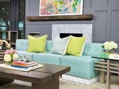 Farben Wohnzimmer Grau Wand Azurblaues Sofa Zitronengelbe ❤️Stil-Fabrik❤️