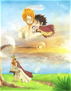 Luffy e Nami - One Piece Zoro One Piece, One Piece Comic, One Piece Ship, One Piece 1, One Piece Fanart, One Piece Anime, One Piece Images, One Piece Pictures, Luffy X Nami