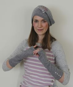 Beret and Mitts from Old Sweater http://weallsew.com/2014/02/13/how-to-make-juliettes-namaste-beret-and-wrist-warmers/