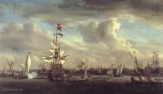 """Painting """"De """"Gouden Leeuw"""" voor Amsterdam"""" by Willem van de Velde (de Jonge) - www.schilderijen.nu"""
