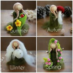 Seasonal Doll, CHANGES with the seasons, 4 Seasons, Spring- Fairy World & Fantastic Creatures -Autumn-Winter-All year Fairy World & Fantastic Creatures Keka❤❤❤ Waldorf Crafts, Waldorf Toys, Wet Felting, Needle Felting, Spring Nature Table, Clay Christmas Decorations, Felt Fairy, Felt Dolls, Felt Crafts