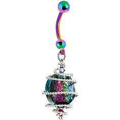 Handcrafted Austrian Crystal Sterling Spiral DICHROIC GLASS Rainbow Titanium Belly Ring