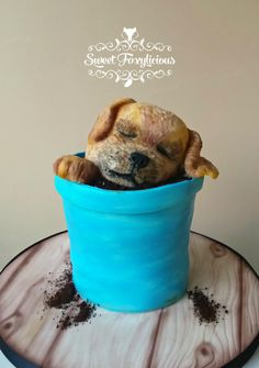 pippin the puppy - Cake by Sweet Foxylicious Bird Cakes, Dog Cakes, Fancy Cakes, Cute Cakes, Puppy Cake, Doggie Cake, Fondant Cakes, Cupcake Cakes, Gravity Defying Cake