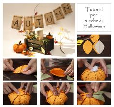 centrotavola realizzato in carta. Centerpieces made with handmade paper pumpkins for your Halloween party!