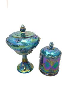 Vintage Blue Carnival Glass Grapes Pedestal by SheLeftUsThis, $64.95