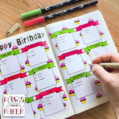 Birthday planner printable for your planner or journal. Use it as a birthday calendar, monthly planner, anniversary and birthday reminder. Bullet Journal Inspo, Bullet Journal Inserts, Bullet Journal Page, Bullet Journal Notebook, Bullet Journal Months, Bullet Journal Weekly Layout, Birthday Bullet Journal, Birthday Reminder, Printable Planner