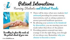 Nursing Student Clinicals: Patient Interactions. Overcoming discomfort in order to meet the patient's needs and provide holistic care as a new student. From the iStudentNurse Clinicals Section: www.iStudentNurse.com/Clinicals/