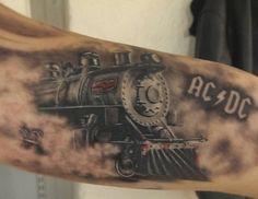 ACDC tattoo i did i while back Skull Sleeve Tattoos, Tattoo Sleeve Designs, Tattoo Designs Men, Dad Tattoos, Forearm Tattoos, Body Art Tattoos, Nice Tattoos, Tatoos, Train Tattoo
