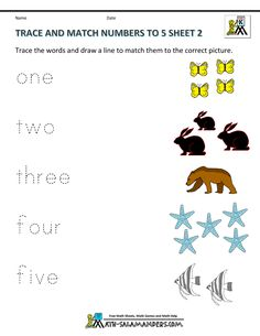preschool printable worksheets trace and match numbers to 5 2