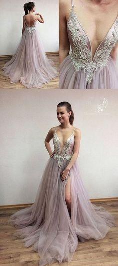 Elegant spaghetti straps long tulle slit evening dresses with lace,MB 126