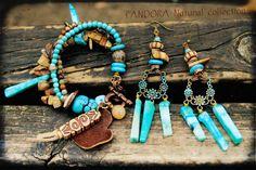 Bohemian Bracelet, Turquoise Earrings, Boho Leather Jewelry, Brown Bracelet, Dangle Earrings, Stone Jewelry on Etsy, $55.00