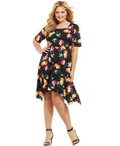 NY Collection Plus Size Printed Handkerchief-Hem Dress - Dresses - Plus Sizes - Macy's