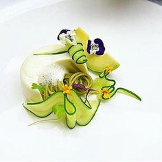 In need of some spring cleaning inside and out! Thus vegan dish of tofu pudding soba noodles blanched zucchini savory soy foam and avocado looks incredible and so delicious! Via @gastroart by alchemyfinehome