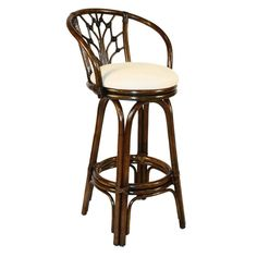 Hospitality Rattan Valencia Indoor Swivel Rattan & Wicker Bar Stool in Antique Finish with Cushion, Coral Cove/Buff Rattan Counter Stools, Rattan Stool, Upholstered Bar Stools, 24 Bar Stools, Swivel Bar Stools, Swivel Chair, Home Bar Furniture, Wicker Furniture, Furniture Design