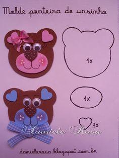 ** Daniele Rosa **: flat tips Zoo Crafts, Baby Crafts, Preschool Crafts, Felt Crafts, Diy And Crafts, Crafts For Kids, Felt Animal Patterns, Bear Theme, Punch Art