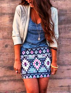 Adorable ensemble: Tribal Skirt With Grey T-Shirt and Jacket