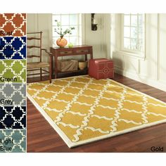 Travel back to the ancient spice bazaars of Marrakesh when you gaze upon this attractive trellis wool rug. Bright colors keep the classic pattern from being too traditional for casual and contemporary decor, while a wool pile lends softness.