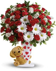 Order Send a Hug I Ruff You by Teleflora send a hug I ruff you from Dick Adgate Florist, Inc., your local Warren florist. Send Send a Hug I Ruff You by Teleflora send a hug I ruff you for fresh and fast flower delivery throughout Warren, OH area. Valentine Flower Arrangements, Beautiful Flower Arrangements, Valentines Day Poems, Valentines Flowers, Teleflora Flowers, Discount Flowers, Anniversary Flowers, Flower Cart, Cemetery Flowers