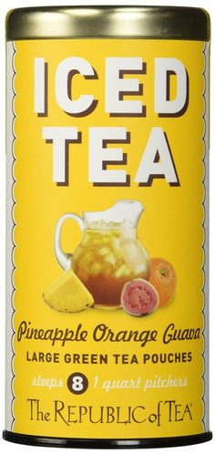 The Republic Of Tea Pineapple Orange Guava Green Iced Tea, 8 Large Pouches, Tropical Fruity Green Tea