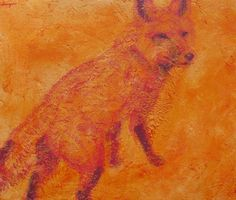 """""""Here I Am"""" x acrylic by Lisa Bohnwagner He crossed my yard and just before he entered the treeline he paused and looked at me as if to say, """"Yes. Here I am in all my noble glorious orange beauty. Animal Paintings, Lisa, Wildlife, Yard, Colorful, Contemporary, Orange, Creative, Artist"""