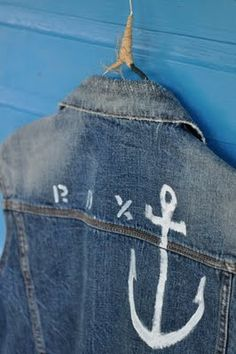 Painted anchor on jean jacket