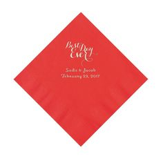 Red Best Day Ever Personalized Luncheon Napkins with Silver Foil