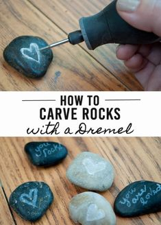 How to Carve Amazing Rocks using a Dremel Tool! I like the idea of carving rocks, but how this person did this without securing the rock with a clamp is dangerous. Otherwise, the Dremel can slip and cut into flesh quickly. Stone Crafts, Rock Crafts, Arts And Crafts, Easy Crafts, Beach Rocks Crafts, Budget Crafts, Dremel Tool Projects, Craft Projects, Dremel Ideas