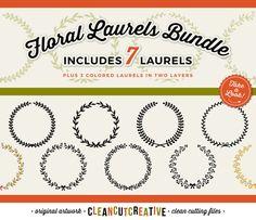 7 svg FLORAL LAUREL SVG laurel svg wreath svg by CleanCutCreative