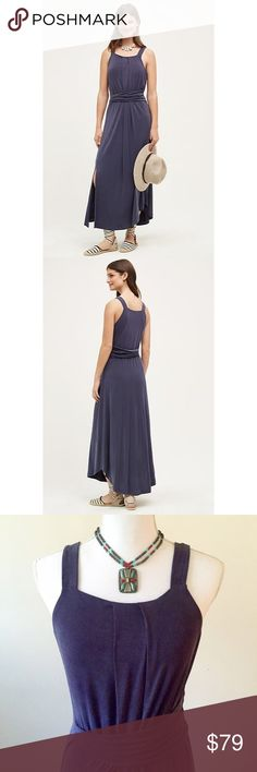 """Anthropologie Azores Halter Dress By Maeve. The fabric on this dress is wonderfully soft with a nice substantial weight, and it drapes beautifully. High quality modal, polyester, spandex blend with a 17"""" side slit, sharkbite hem, and banded waist. It's lined to about 3"""" above the slit, the length from the shoulder is 45"""", the bust is 16.5"""", and the waist is 14"""" with plenty of stretch. Anthropologie Dresses Maxi"""