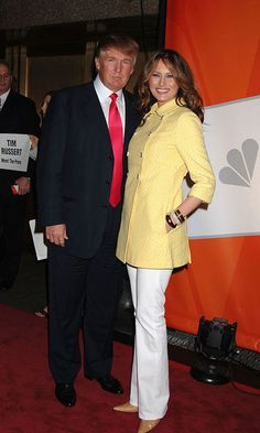 Melania looked sunny in 2006 donning a bright yellow coat and white trousers for the NBC Primetime Upfronts in New York City.  Photo: Robin Platzer/FilmMagic