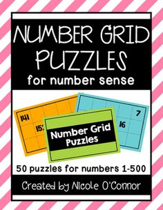 Number Grid Puzzles for Number Sense Learning Games, Math Games, Grid Puzzles, Number Grid, Addition And Subtraction Practice, Sequencing Cards, Number Puzzles, Early Finishers, Dry Erase Markers