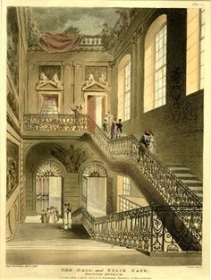 The staircase of the old British Museum, Montagu House, under a ceiling decorated with paintings; light entering through arched windows at right. 1808.