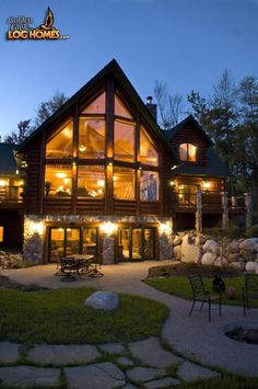 Log Home By Golden Eagle Log Homes Lake Side Exterior View 2