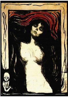 Madonna, woodcut print, 1895, Edward Munch