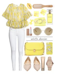 """""""Pastel Jaune White Jeans"""" by zogra ❤ liked on Polyvore featuring H&M, Dolce&Gabbana, Topshop, Valentino, Clarins, Marc Jacobs, Balenciaga, Burberry, Estée Lauder and Philip Kingsley"""