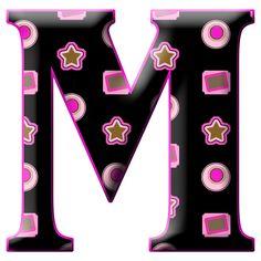 Letra M mayúscula, en negro y morado, para imprimir.