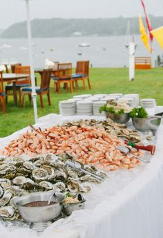 Shellfish Table for Outdoor Wedding